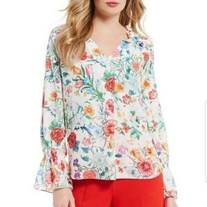 Floral Ruffle Bell Sleeve Blouse